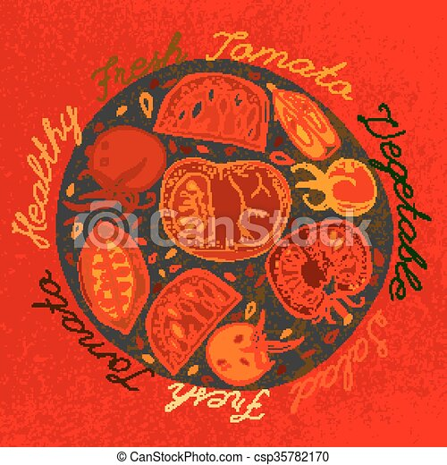 Hand drawn tomatoes - csp35782170