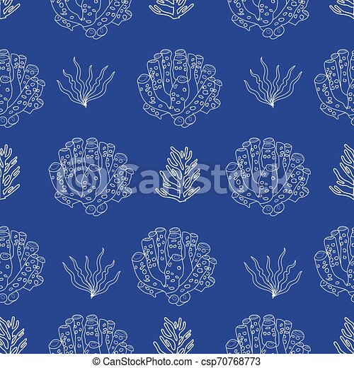 Hand drawn under water coral and plants silhouettes. - csp70768773