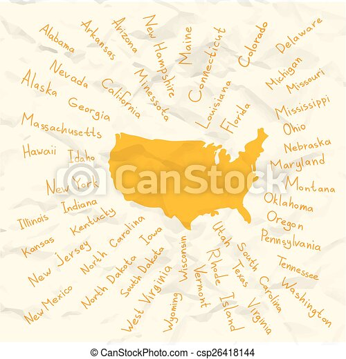 Hand drawn usa states vector on crumpled paper illustration. Hand ...