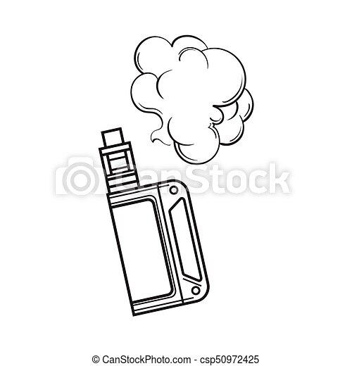Hand drawn vape, vaping device with smoke cloud, sketch illustration