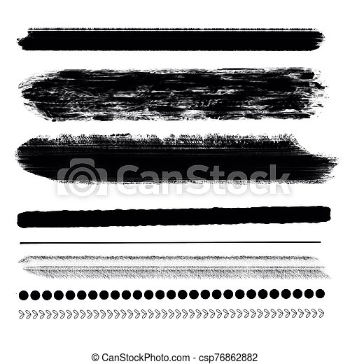 Hand drawn various shapes brush strokes. Creative black thin paint brush lines, isolated on white background. - csp76862882