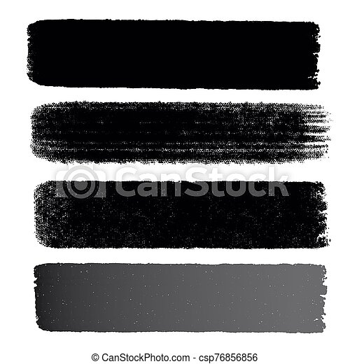 Hand drawn various shapes brush strokes. Creative black thin paint brush lines, isolated on white background. - csp76856856