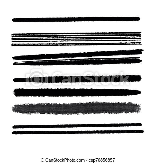 Hand drawn various shapes brush strokes. Creative black thin paint brush lines, isolated on white background. - csp76856857