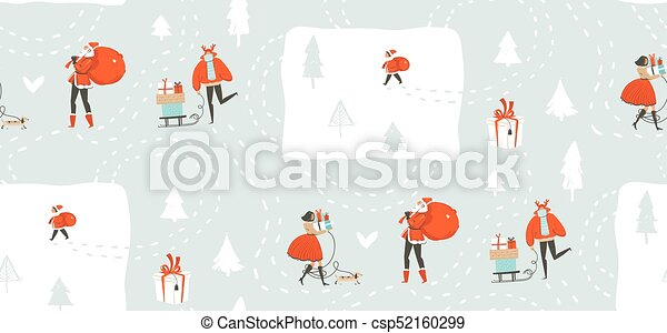 Hand drawn vector abstract fun Merry Christmas time cartoon illustration seamless pattern with people walking in winter clothing and surprise gift boxes isolated on snow blue background - csp52160299