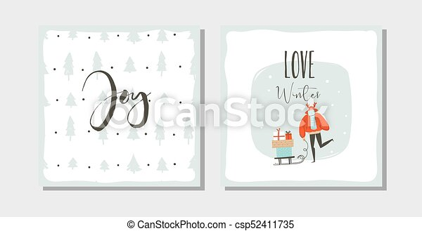 Hand drawn vector abstract fun Merry Christmas time cartoon cards collection set with cute illustrations, surprise gift boxes ,Christmas trees and modern calligraphy isolated on white background - csp52411735