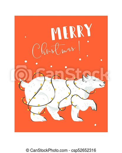 Hand drawn vector abstract fun merry christmas time cartoon hand drawn vector abstract fun merry christmas time cartoon illustrations card design template with white polar bear and lights garland isolated on red maxwellsz