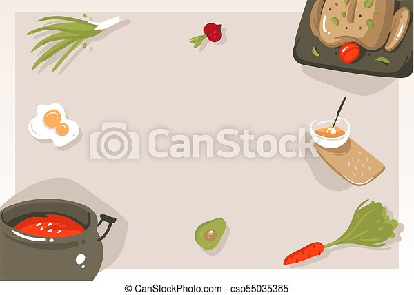 Hand drawn vector abstract modern cartoon cooking class concept illustrations poster card with copyspace and place for your text isolated on grey background - csp55035385