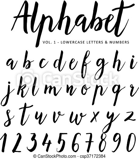 Hand Drawn Vector Alphabet Script Font Brush Isolated Letters Written With Marker Ink Calligraphy Lettering