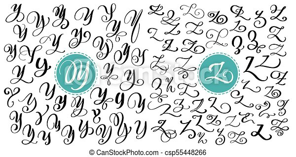 Hand Drawn Vector Calligraphy Letter Y Z Script Font Isolated Letters Written With Ink Handwritten Brush Style Lettering For Logos Packaging