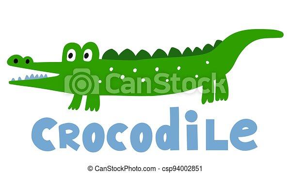 Hand drawn vector crocodile. Cute cartoon baby illustration - csp94002851