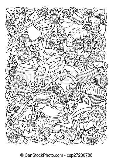 hand drawn vector doodle illustration coffee and tea design