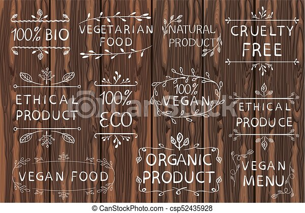 Hand drawn VECTOR elements on light wooden background  Black lines  Bio,  organic, ethical products