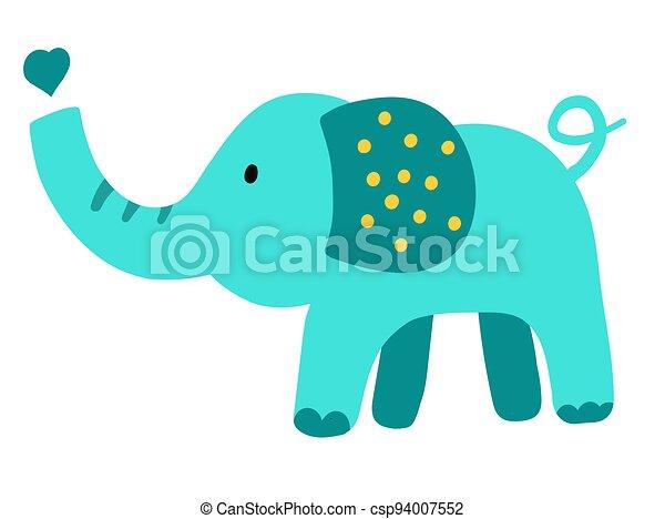 Hand drawn vector elephant. Cute cartoon baby illustration - csp94007552