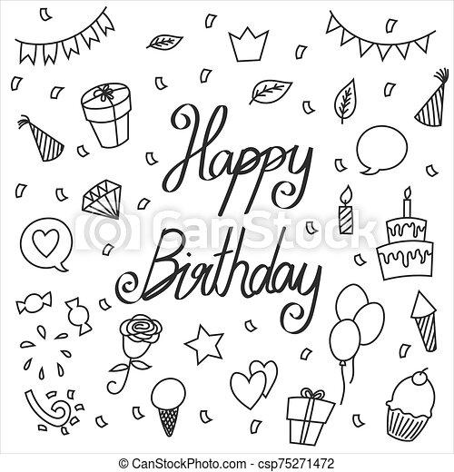 Hand drawn vector happy birthday - csp75271472