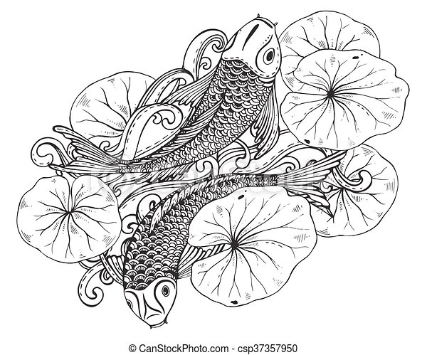 Hand Drawn Vector Illustration Of Two Koi Fishes With Lotus Leav