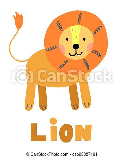 Hand drawn vector lion. Cute cartoon baby illustration - csp93887191