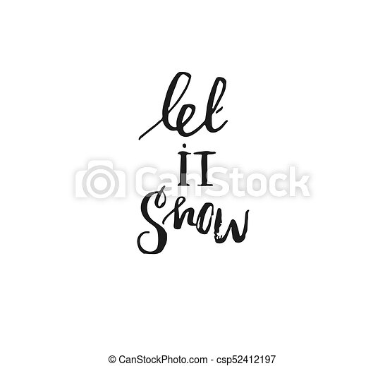 hand drawn vector merry christmas rough freehand graphic greeting design element with handwritten modern calligraphy phase let it snow isolated on white