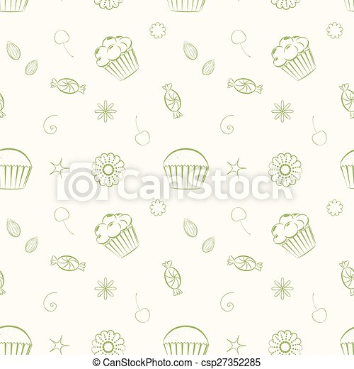 Hand drawn vector seamless patterns with cupcakes, candies and c - csp27352285