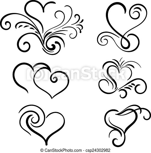 Hand Drawn Vector Swirl Heart Elements 24302982 on simple tattoo designs