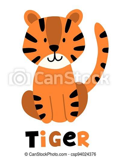Hand drawn vector tiger. Cute cartoon baby illustration - csp94024376