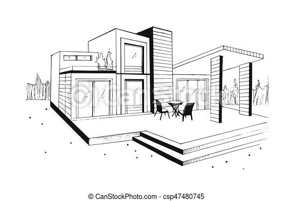 Hand drawn villa. modern private residential house. black and white sketch illustration. - csp47480745