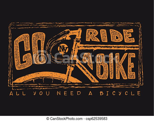 Hand drawn vintage bicycle and lettering - csp62539583