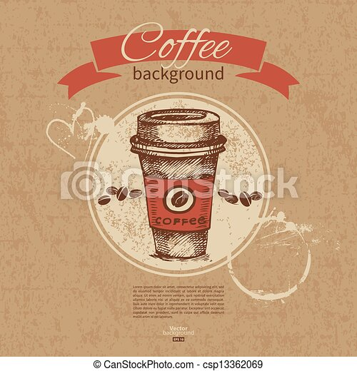 Hand drawn vintage coffee background. Menu for restaurant, cafe, bar, coffeehouse - csp13362069