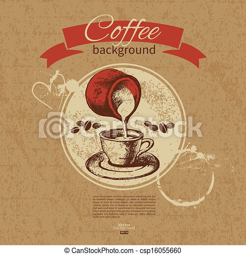 Hand drawn vintage coffee background. Menu for restaurant, cafe, bar, coffeehouse  - csp16055660