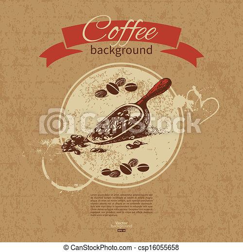 Hand drawn vintage coffee background. Menu for restaurant, cafe, bar, coffeehouse  - csp16055658