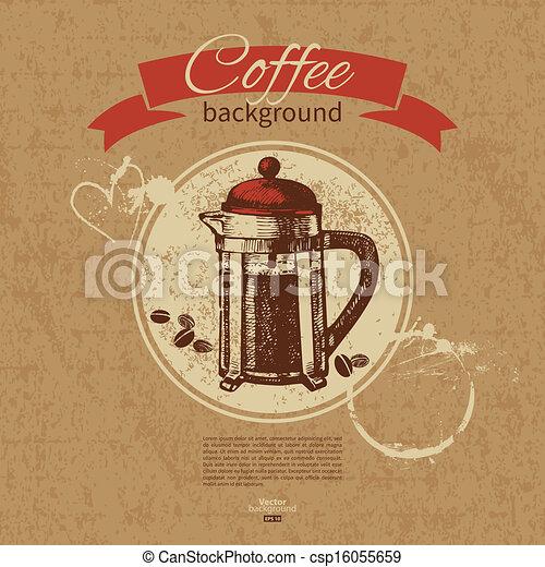 Hand drawn vintage coffee background. Menu for restaurant, cafe, bar, coffeehouse  - csp16055659