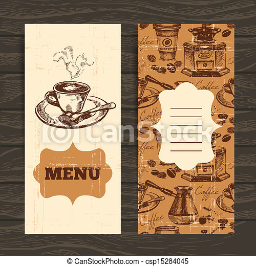 Hand drawn vintage coffee background. Menu for restaurant, cafe, bar, coffeehouse  - csp15284045