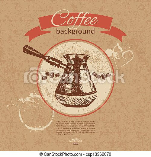 Hand drawn vintage coffee background. Menu for restaurant, cafe, bar, coffeehouse - csp13362070