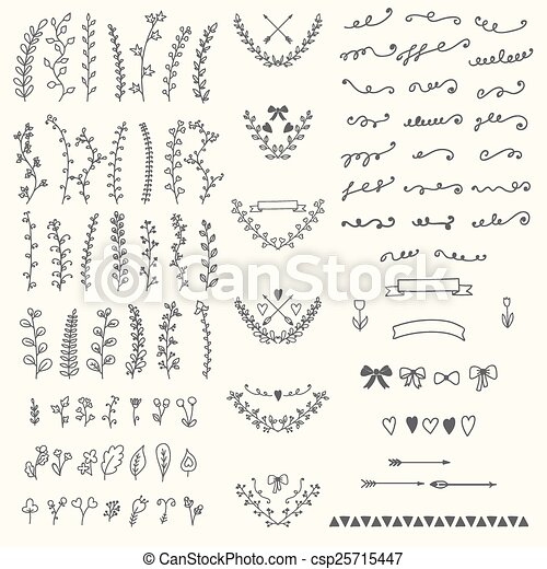 Hand Drawn vintage floral elements. Handsketched vector design e - csp25715447