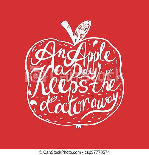 Hand drawn vintage motivational quote about health and applean and applean apple a day keeps the doctor away hand lettering template quote can be used as a print t shirts bags greeting cardsposter etc m4hsunfo