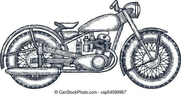 Hand drawn vintage motorcycle vector logo design template ...