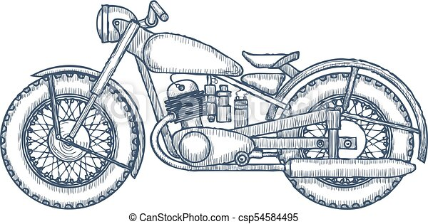 hand drawn vintage motorcycle vector logo design template bikeshop