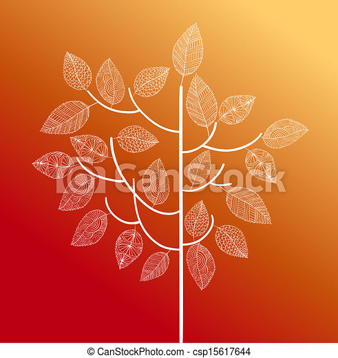 Hand drawn vintage tree with cute details over each leaf. Autumn season concept background. EPS10 Vector file in layers for easy editing. - csp15617644