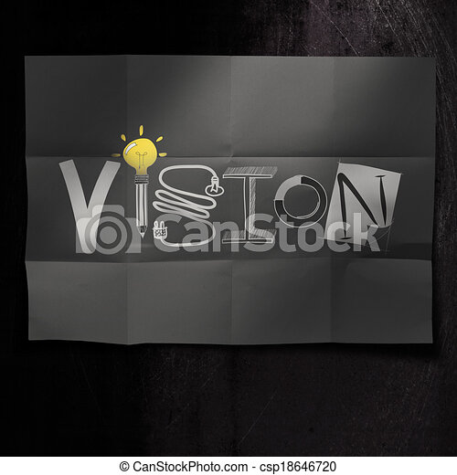 hand drawn VISION design word on crumpled paper background as concept - csp18646720