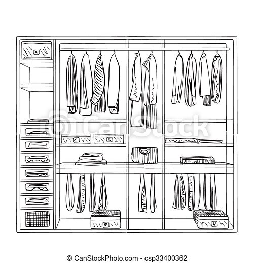 Hand Drawn Wardrobe Sketch Furniture For Clothes