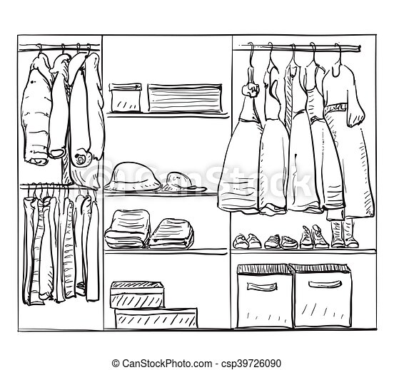 Wardrobe clipart black and white  Hand drawn wardrobe sketch. clothes for baby girl. Hand... eps ...