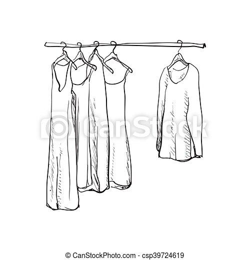 Hand drawn wardrobe sketch. Clothes