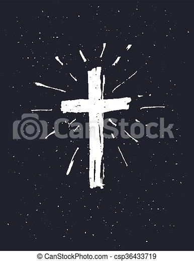 Hand drawn white grunge cross csp36433719