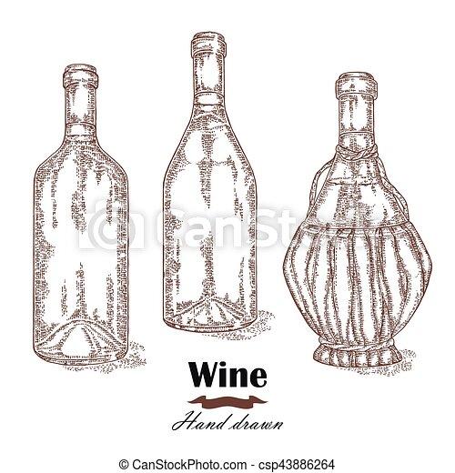 Hand drawn wine bottles vintage. Vector sketch - csp43886264
