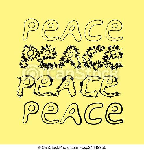 hand-drawn word peace. 4 variants. - csp24449958