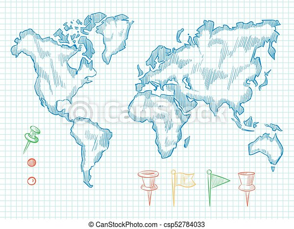 Hand drawn world map and colorful doodle pins