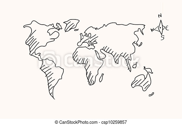 Hand drawn world map vector hand drawn world map csp10259857 gumiabroncs Choice Image