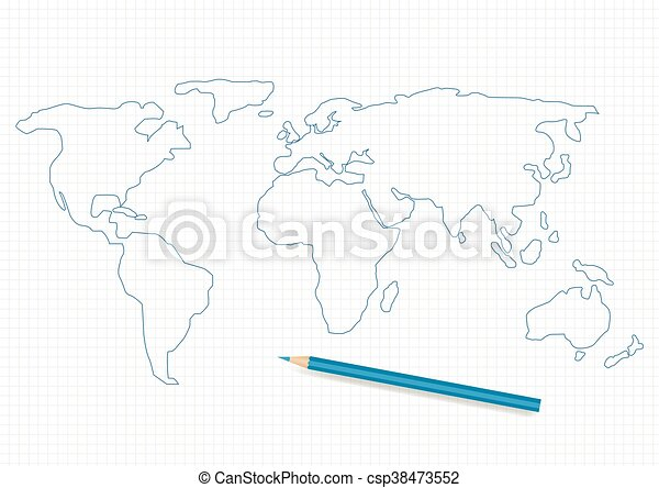Hand drawn world map and blue pencil.
