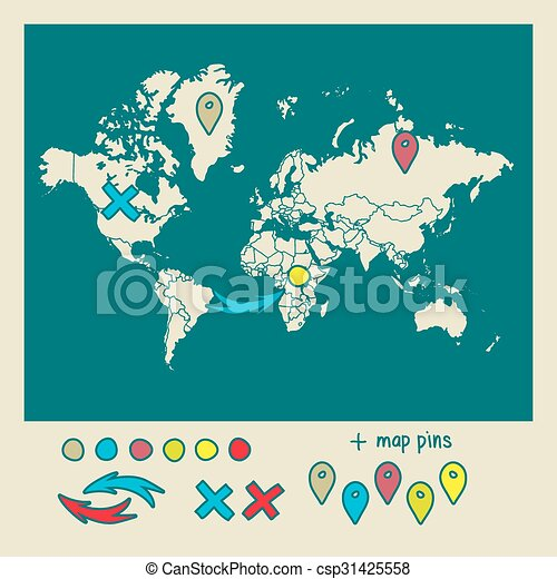 Hand drawn world map with pins and arrows vector design hand drawn world map with pins and arrows vector design cartoon style atlas illustration travel sciox Image collections