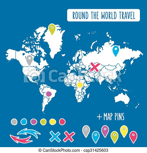 Hand drawn world map with pins and arrows vector design vector hand drawn world map with pins and arrows vector design cartoon style atlas illustration travel gumiabroncs Images