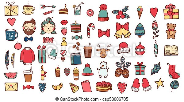 Hand drawn Xmas stickers collection. Christmas signs and symbols vector illustration - csp53006705